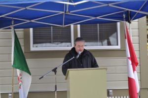 Mayor Wayne Potoroka addresses audience