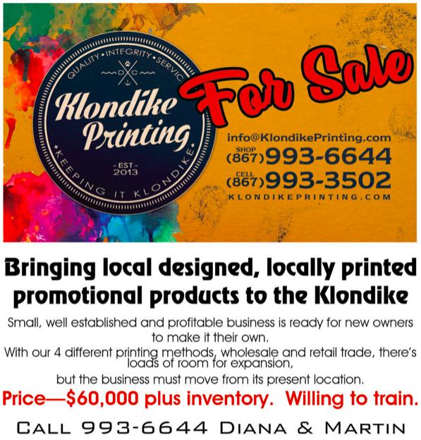 Klondike Printing is for sale advertisement